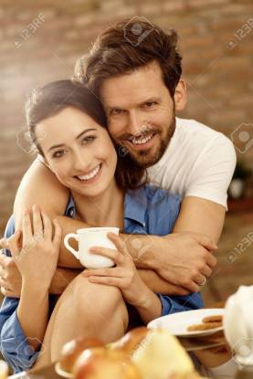 Closeup portrait of loving couple